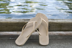 Flip Flops by the Water - Horizontal Stock Photo