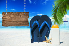Flip Flops and wooden signboard Royalty Free Stock Image