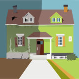 Flip the house. House before and after a renovation, vector illustration Stock Image