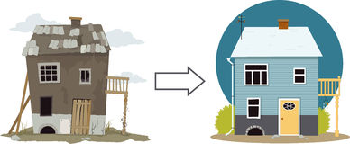 Flip this house. Rundown derelict shack turning into a cute cottage, EPS 8 vector illustration, no transparencies royalty free illustration
