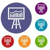 Flipchart with marketing data icons set Stock Image