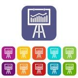 Flipchart with marketing data icons set Stock Photography