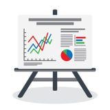 Flipchart, pantalla del whiteboard con datos del márketing Imagenes de archivo