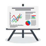 Flipchart, whiteboard screen with marketing data. Presentation whiteboard with market data and statistics for future marketing campaign and business strategies Stock Images