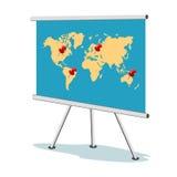 Flipdiagram, världskarta med punkter, affärsidé, mall, baner Arkivbilder