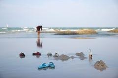 Flipflop on the beach. Hua-hin beach in Thailand Stock Photo