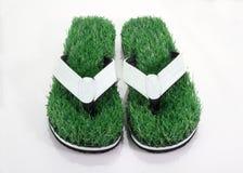 Flipflop-Pantoffel mit grünes Gras-Komfort-Konzept Stockfoto
