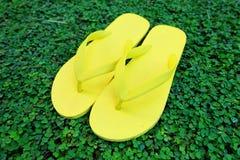 Flipflop Schließen Sie herauf gelben Flip Flops Isolated auf grünes Gras-Hintergrund stockbilder