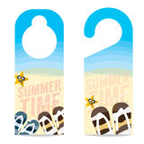 Flipflop And Star Fish On The Beach Summer Vacation Concept. Flipflop And Star Fish On The Beach Summer Vacation Concept Door Hanger Vector Illustration stock illustration