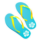Flipflops. Pair of colorful flipflops/beach sandals with hibiscus pattern Stock Photo