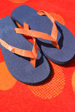 Flipflops auf orange Tuch stockbild