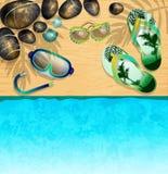 Flipflops, Maske für das Tauchen, Sonnenbrille und Steine vektor abbildung