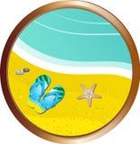 Flipflops on the sand border Stock Photo