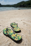 Flipflops on a sandy ocean beach over tropical landscape Stock Images