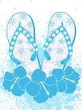 Flipflops und Hibiscusblumen Stockfoto