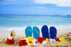 Flipmisslyckanden, snäckskal och sjöstjärna med tropiska blommor på sandigt Royaltyfri Bild