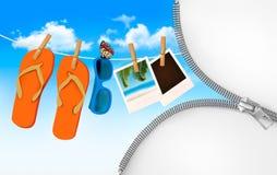 Flipmisslyckanden, solglasögon och fotokort som hänger på ett rep. Sommar vektor illustrationer