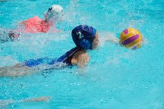 Flipper Ball player. Young girls playing flipper ball another version of water polo in a light blue swimming pool stock image