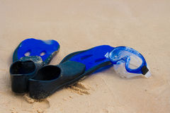 Flipper and diving mask. On the beach stock photo