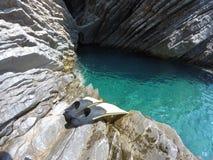 Flipper für das Tauchen und das azurblaue Wasser des Meeres, felsige Küste, Lizenzfreie Stockbilder