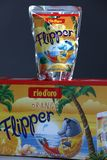 Flipper Rio d`oro fruit flavored drink for children. From Aldi retailer, copy space, isolated royalty free stock image