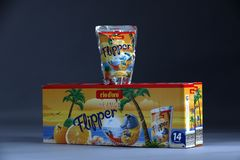Flipper Rio d`oro fruit flavored drink for children. From Aldi retailer, copy space, isolated stock photo