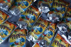 Flipper Rio d`oro fruit flavored drink for children. From Aldi retailer, copy space, isolated royalty free stock photos