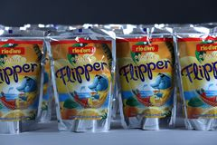 Flipper Rio d`oro fruit flavored drink for children. From Aldi retailer, copy space, isolated royalty free stock photography