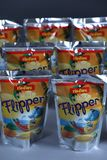 Flipper Rio d`oro fruit flavored drink for children. From Aldi retailer, copy space, isolated royalty free stock photo