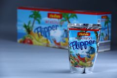 Flipper Rio d`oro fruit flavored drink for children. From Aldi retailer, copy space, isolated stock image