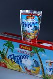 Flipper Rio d`oro fruit flavored drink for children. From Aldi retailer, copy space, isolated stock photos