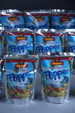Flipper Rio d`oro fruit flavored drink for children. From Aldi retailer, copy space, isolated royalty free stock images