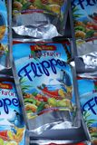 Flipper Rio d`oro fruit flavored drink for children. From Aldi retailer, copy space, isolated stock photography
