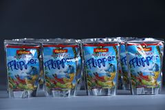 Flipper Rio d`oro fruit flavored drink for children Royalty Free Stock Image