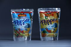 Flipper Rio d`oro fruit flavored drink for children Stock Images