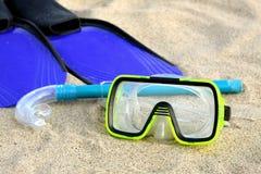 Flipper, Snorkel und Schablone Lizenzfreie Stockfotografie