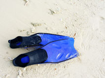 Flipperes on Beach. Snorkeling flippers on the beach Royalty Free Stock Photo