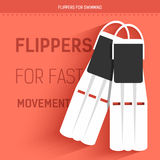 Flippers for fast movement under water. Vector icon illustration background. Colorful template for you design, web and Royalty Free Stock Images
