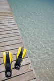 Flippers on a Jetty Royalty Free Stock Image