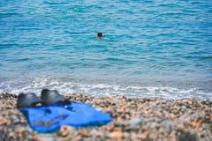 Flippers na otoczakach przy dennym wybrzeżem zdjęcia royalty free