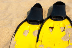 Flippers in the sand Royalty Free Stock Photography