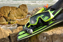 Flippers, snorkel and diving mask. Stock Photos