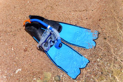Flippers and snorkel lying on a sandy beach Royalty Free Stock Photos