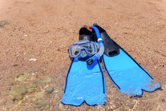 Flippers and snorkel lying on a sandy beach Royalty Free Stock Photo