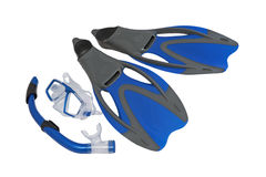 Flippers and snorkel to the mask. Royalty Free Stock Photo