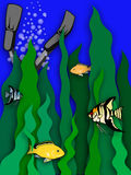 Flippers up. Raster illustration of a diver among seaweed and tropical fish Royalty Free Stock Photo
