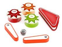 Flipperspelbumpers, vinnen en metaalbal op witte achtergrond 3D Illustratie royalty-vrije illustratie