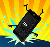 Flippige Karikatur fallengelassener Smartphone-Schirm geknackt Stockfoto