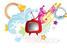 Flippiger abstrakter Hintergrund mit rotem Retro- Fernsehapparat Stockfotos