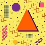 Flippiger Memphis Pattern auf Gelb Stockbilder